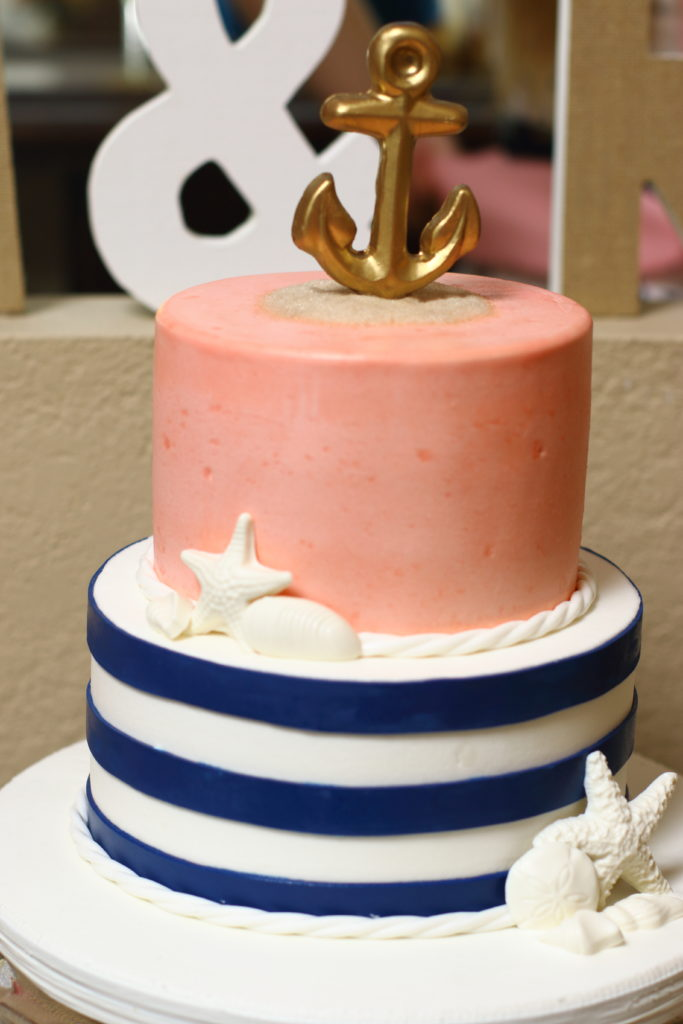 Nautical bridal shower themed cake!