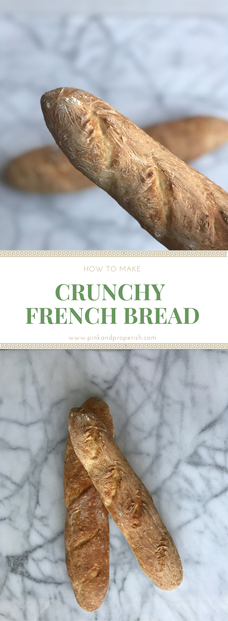 Learn how to make some delicious crunchy french bread! Making bread is actually a lot easier than you would think! This simple, 4 ingredient recipe will make the BEST french bread. Give it a try!